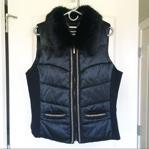 WHBM Black Puffer Vest with Fur Trim